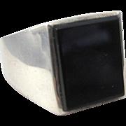 Vintage Sterling and Black Onyx Bold Men's Unisex Ring