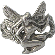 Lovely Sterling Silver Fairy Ring, Size 6-3/4