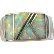 Vintage Sterling and Inlaid Opal and Onyx Modernist Ring, Size 7