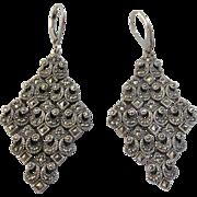 Fabulous Signed Sterling Silver Marcasite Chandelier Lever Back Pierced Earrings