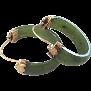 Vintage 14K Gold Green Chrsophase Hoop Pierced Earrings