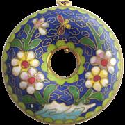 Vintage Chinese Cloisonne Large Donut Pendant, Cobalt Blue Floral