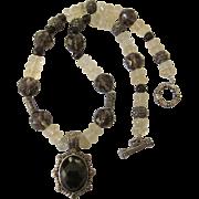 SALE Vintage Sterling Silver and Gemstone Pendant Necklace