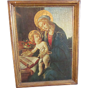 "Vintage Italian Florentine 16"" x 13"" Religious Framed Picture, Madonna and Child"