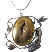 Fabulous Sterling Druzy, Hummingbird, Calla Lillies Artistic Pendant Brooch Necklace With Chai