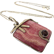 Bold, Modernist Sterling Silver, Rhodochrosite and Garnet Pendant and Chain Necklace
