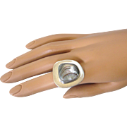 Bold, Modernist Sterling Silver Abalone Ring, Size 6-3/8