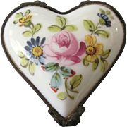 SALE Sweet Sevres French Porcelain Heart Shaped Floral Hinged Trinket Box