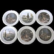Vintage Seltmann Weiden Bavaria German Set of Six Porcelain Coasters, Hunting Scenes