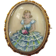 Signed TLM England Hand Painted Brooch Pendant, Girl in Ruffled Dress, Mid-20th Century