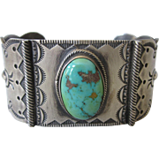 Vintage Signed Native American Navajo/Apache Sterling Silver and Turquoise Wide Cuff Bracelet