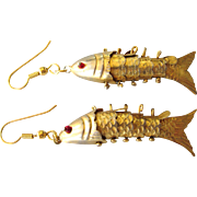 Vintage Articulated Jointed Fish Dangle Pierced Earrings, Goldtone, Ruby Glass Eyes