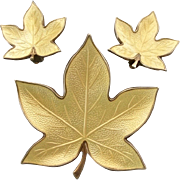 Signed Bjorklund Sterling Enamel Guilloche Leaf Pin/Earrings- Denmark-MidCentury