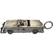 Vintage Sterling Silver 3-D mid-20th Century Convertible Car Charm Pendant
