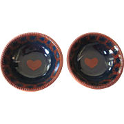 Pair of Signed 1986 Ned Foltz Pottery Bowls, Heart Motif