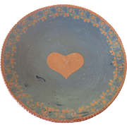 "Signed Ned Foltz Pottery 1982 9-1/4"" Plate, Heart Motif"
