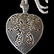 Romantic Huge Sterling Marcasite Pierced Heart/Chain