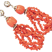 Long Dangling Branch Coral, Melon Bead and Sterling Silver Pierced Earrings