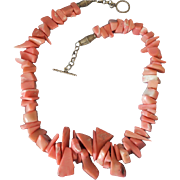 """Chunky Pink Coral Organic Bead and Sterling Silver 19"""" Necklace"""