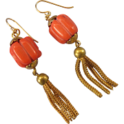 Stunning Bamboo Melon Coral and Gold Filled Tassel Pierced Long Earrings