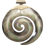 Sophisticated Large, Sterling and Gray Mother of Pearl Swirl Open Work Pendant