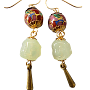 Serpentine Figural Gemstone and Cloisonne Dangling Pierced Earrings