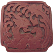 Vintage Chinese Red Cinnabar and Enamel Dragon Hinged Trinket Box, Notched Corners