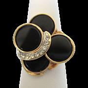 Vintage 18K G.E. Electroplate Bold Modernist Black Enamel and Rhinestone Ring, Size 7