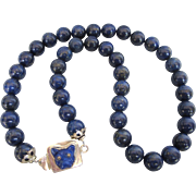 Vintage 10mm Lapis Lazuli Bead and Sterling Silver 'Bull Dog' Box Clasp - Fabulous!