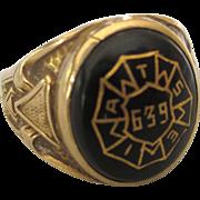 Vintage 10K Gold IATSE Entertainment Union Ring, Art Deco Design, Size 7