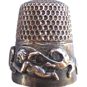 Gorgeous Vintage Sterling Thimble - Angels and Ribbons