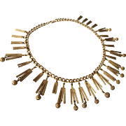Vintage Egyptian Revival Bib Collar Brushed Goldtone Necklace