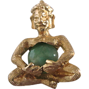 Vintage 14K Gold Buddha Charm or Tiny Pendant