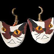 Vintage Quirky Hand Crafted Calico Cat Earrings, Juneau, Alaska, Plus Bonus Pair