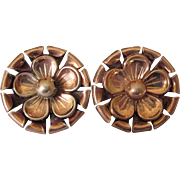 Mid-Century Rose Gold Over Sterling Vermeil Screw Back Oversized Button Earrings