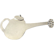 Signed Sterling Silver Watering Can Brooch