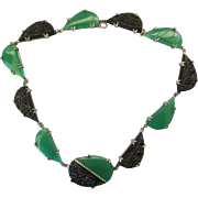 """Art Deco Sterling and Molded Black and Green Glass 16"""" Necklace"""
