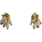 Estate 14K Gold Opal and Diamond Accent Pierced Earrings