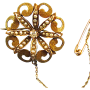 Fanciful Victorian 10K Rose Gold Diamond and Seed Pearl Starburst Pin