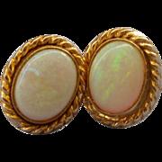Vintage 14K Gold Oval Opal Stud Post Pierced Earrings