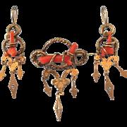 Romantic Victorian 10K Branch Coral Demi Parure Brooch and Dangline Pierced Earrings - ...