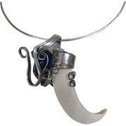 Fabulous Upcycled Pendant - Dangling Fork, Blue Glass Stone and Claw, on Ring Necklace