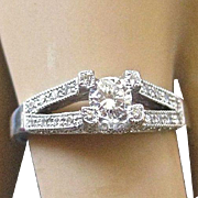 Estate Modern 14K White Gold DIAMOND Ring - 3/4 TCW - Size 7