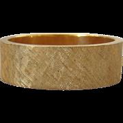 Mid-Century 14K Yellow Brushed Gold Heavy Band Ring, Size 5