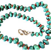 """Graduated Turquoise Coral Bead Necklace, Sterling Snake Clasp, 22-1/2"""" Long"""
