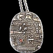 Stunning Modernist Sterling Silver Gemstone Brutalist Pendant With Chain, Signed Israel, ...