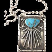 Modernist Large Sterling Turquoise Sunburst Pendant/Chain