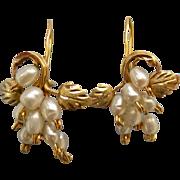 Lovely Victorian Revival 10K Gold Seed Pearl Grape Pierced Earrings