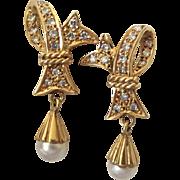 Enchanting 14k Diamond Georgian Style Bow Earrings
