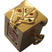 Fabulous Mid 20th Century 14K Gold and Enamel Deck of Cards Charm, Moveable, 3-D